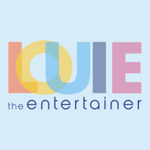 a logo for an entertainer based in northern ireland called louie the entertainer